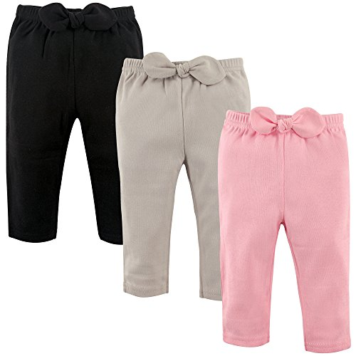 Hudson Baby Unisex Baby Cotton Pants, Light Pink Black