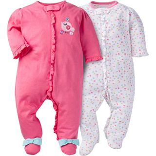 Gerber Baby Girls' 2 Pack Zip Front Sleep 'n Play,Birdie
