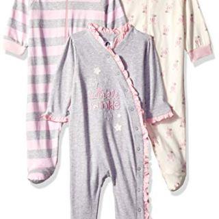 GERBER Baby Girls' 3-Pack Organic Sleep 'N Play, Bunny Star