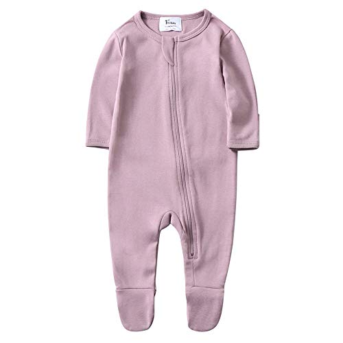 O2Baby Baby Boys Girls Organic Cotton Zip Front Sleeper Pajamas