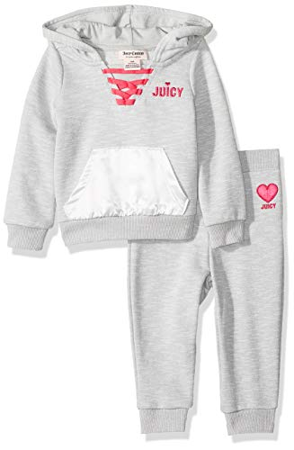Juicy Couture Baby Girls 2 Pieces Hoody Pants Set, Heather Gray