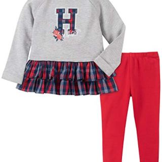 Tommy Hilfiger Baby Girls 2 Pieces Leggings Set, Gray-Plaid/Red