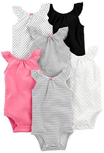 Simple Joys by Carter's Baby Girls' 6-Pack Sleeveless Bodysuit, Black