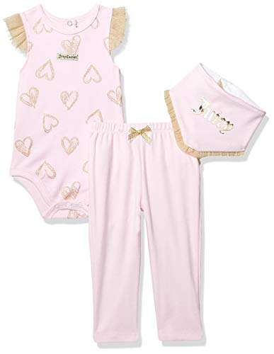 Juicy Couture Baby Girls 2 Pieces Bodysuit Pants Set, Soft Pink