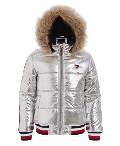 Tommy Hilfiger Baby Girls' Quilted Puffer Jacket, Taping Metallic Silver