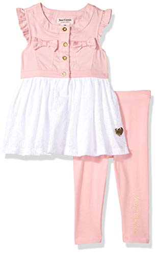 Juicy Couture Baby Girls 2 Pieces Legging Set, Pink/Silent Vanilla