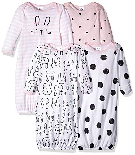 GERBER Baby 4-Pack Gown, Bunny, 0-6 Months