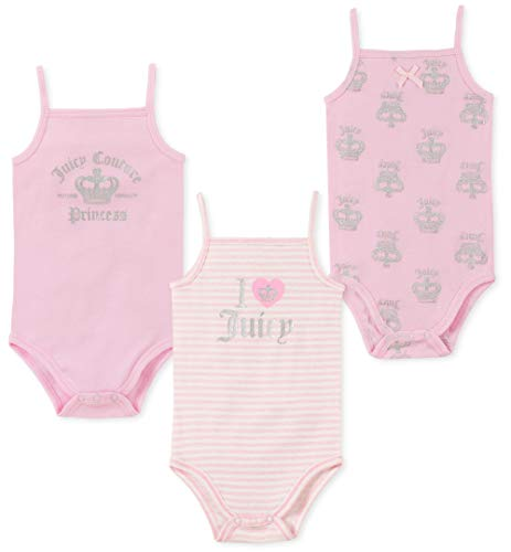 Juicy Couture Baby Girls 3 Pieces Pack Bodysuits, Light Pink
