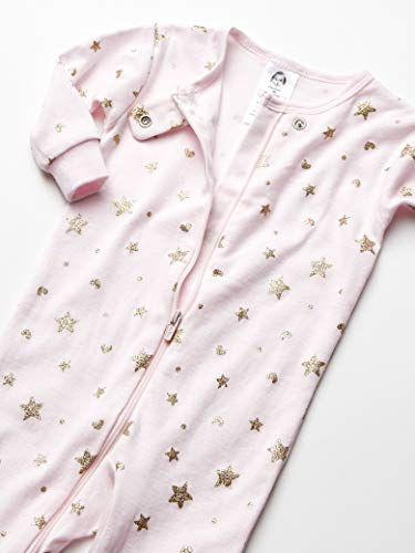 GERBER Baby Girls 2-Pack Footed Unionsuit, Stars and Hearts