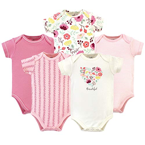 Touched by Nature Unisex Baby Organic Cotton Bodysuits, Botanical
