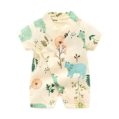 PAUBOLI Kimono Robe Newborn Cotton Yarn Robe Baby Romper Infant Japanese