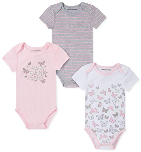 Calvin Klein Baby Girls 3 Pieces Pack Bodysuits, Pink