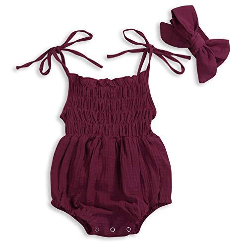 KCSLLCA Baby Girls Sleeveless Romper Set Solid Color Sling Backless Jumpsuit