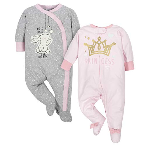 GERBER Baby Girls' 2-Pack Sleep 'N Play, Bunny/Princess