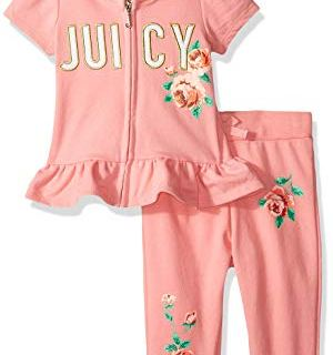 Juicy Couture Baby Girls 2 Pieces Pants Set with Hoody, Papaya
