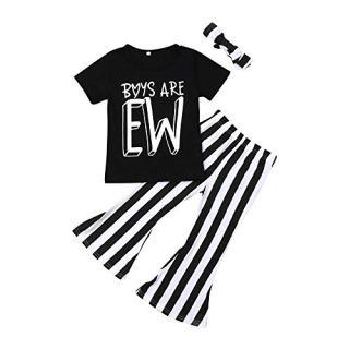 Fashion Toddler Baby Girls Boys are EW T-Shirt+Striped Flare Bell-Bottoms Pants