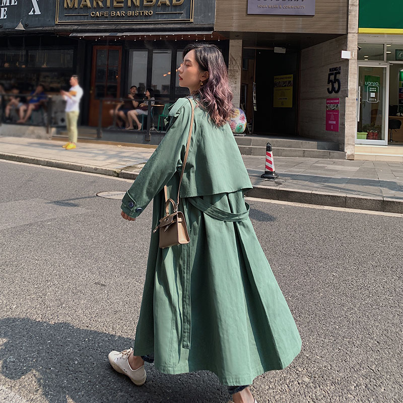Autumn Winter Casual cloak Long Belted knee Trench