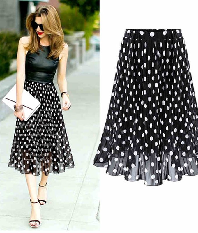 5XL Plus Size Summer Pleated Chiffon Skirt For Woman