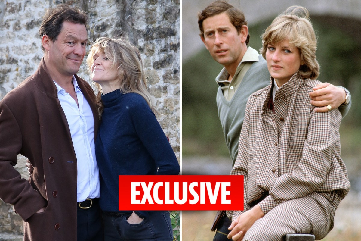 Dominc West and his wife, Catherine FItzGerald alongside a picture Prince Charles and Princess Diana