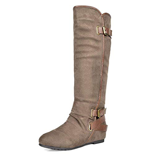DREAM PAIRS Women's New-Akris Khaki Knee High Hidden Wedge