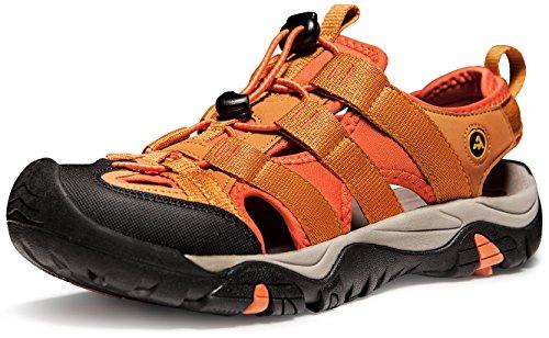 ATIKA Men's Sports Sandals Trail Outdoor Water Shoes 3Layer Toecap Series,All Terrain Orbital(m107) - Orange, 11