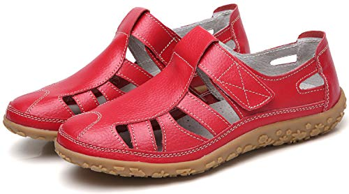 YOOEEN Ladies Soft Leather Sandals Comfortable Flat Shoes Non-Slip