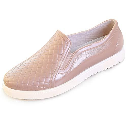 Scurtain PVC Rain Boots Female Casual Shallow Mouth Anti-Frozen Shoes