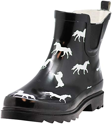 NORTY - Womens Ankle High Horse Print Boot, Black
