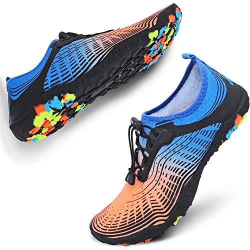 JIASUQI Mens Summer Athletic Water Shoes Socks for Pool Swim Orange