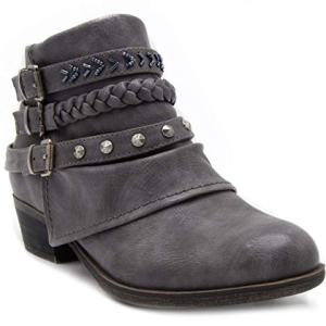 Rampage Women's Tabitha Triple Buckle Ankle Boot Ladies Side Zipper Bootie