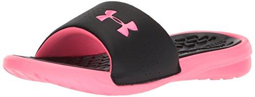 Under Armour Women's Playmaker Fixed Strap Slide Sandal, Black (001)/Cerise, 9