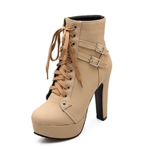 Susanny Women Autumn Round Toe Lace Up Ankle Buckle Chunky High Heel