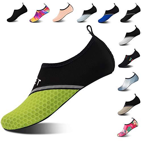 Mens Womens Water Shoes Barefoot Beach Pool Shoes Quick-Dry Aqua Yoga Socks for Surf Swim Water Sport (Black Green, 38/39EU)