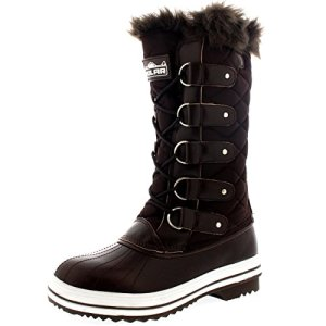 POLAR Womens Snow Boot Nylon Tall Winter Fur Lined Snow Warm Waterproof