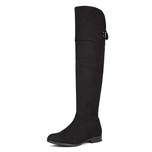 DREAM PAIRS Women's Hi_Flat Black Over The Knee Stretchy