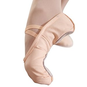 Ballet Slippers for Women Canvas Ballet Shoes Ballet Flats Split Sole Yoga Dance Shoes (8 M US, Nude)