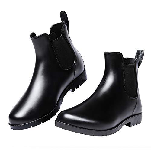 Lvitse Women's Short Rain Boots Elastic Chelsea Booties Anti Slip