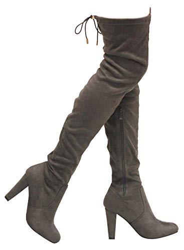 MVE Shoes Women's Stretch Thigh High Heeled Boots