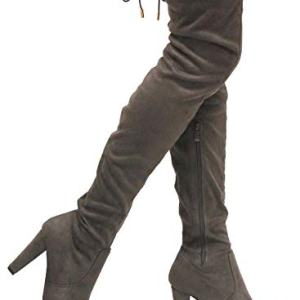 MVE Shoes Women's Stretch Thigh High Heeled Boots