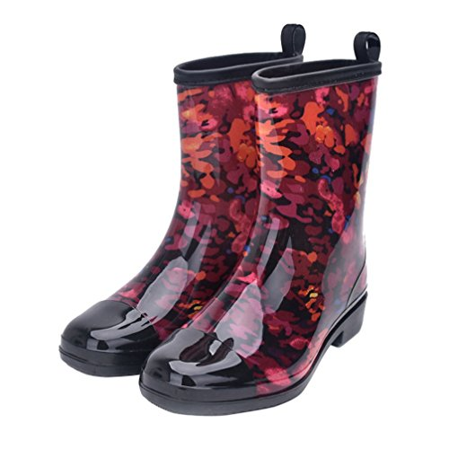 Women Half Calf Rubber Rainboots Floral Printed Waterproof Rubber