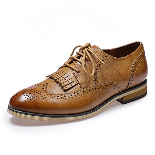 Mona flying Womens Leather Perforated Lace-up Saddle Oxfords
