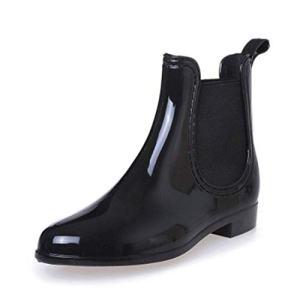 SYLPHID Womens Rain Boots Ladies Elastic Chelsea Booties Shiny Waterproof