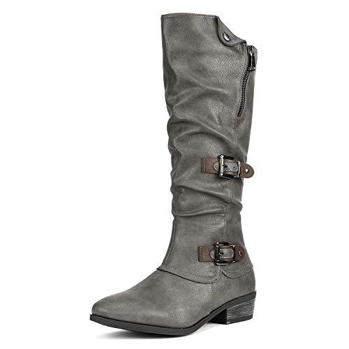 DREAM PAIRS Women's Parkar Grey Winter Knee High Boots