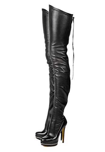 termarnoov 2018 Women Thin High Heel Thigh High Boots PU Leather