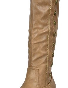 DREAM PAIRS Women's Army Khaki Pu Leather Knee High Winter Riding Boots