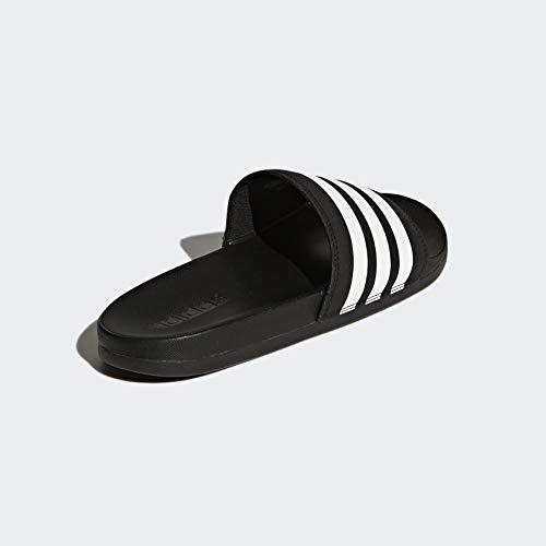 adidas Women's Adilette Comfort Slide Sandal, White/Black, 6 M US