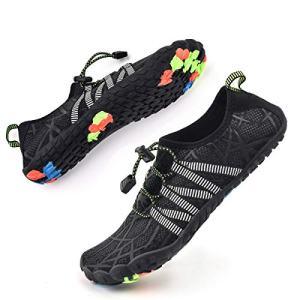 Bopika Water Shoes Sports Quick Dry Barefoot Shoes Diving Swim Surf Aqua Walking Beach for Mens Womens (9.5 M US Men, ZB-Black)