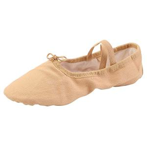 Women's Ballet Practice Ballroom Dance Shoes Canvas Belly Slippers Split-Sole