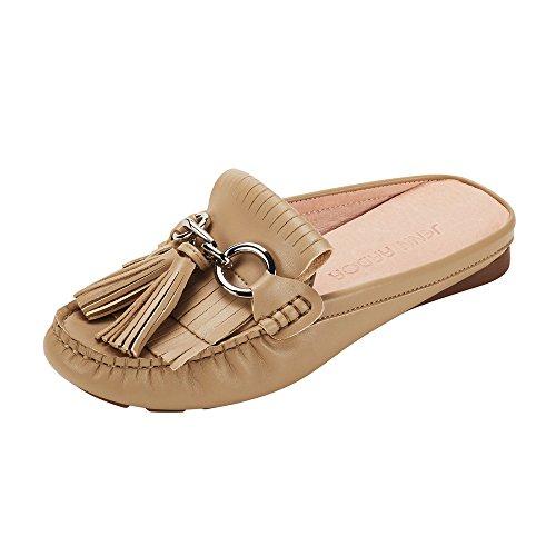 JENN ARDOR Women's Tassel Mule Shoes Slip-on Flat Loafer Shoes