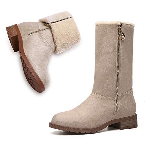 MEGNYA Women's Winter Short Boots Faux Suede Chunky Heel Booties